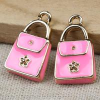 Zinklegierung Handtasche Anhänger, goldfarben plattiert, Emaille, frei von Blei & Kadmium, 21x12x3mm, Bohrung:ca. 1-2mm, 20PCs/Tasche, verkauft von Tasche