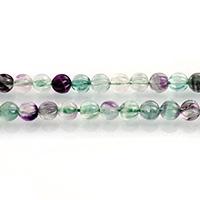 Fluorit Perlen, grüner Fluorit, rund, natürlich, verschiedene Größen vorhanden & gewellt, Bohrung:ca. 0.7-1mm, verkauft per ca. 15 ZollInch Strang
