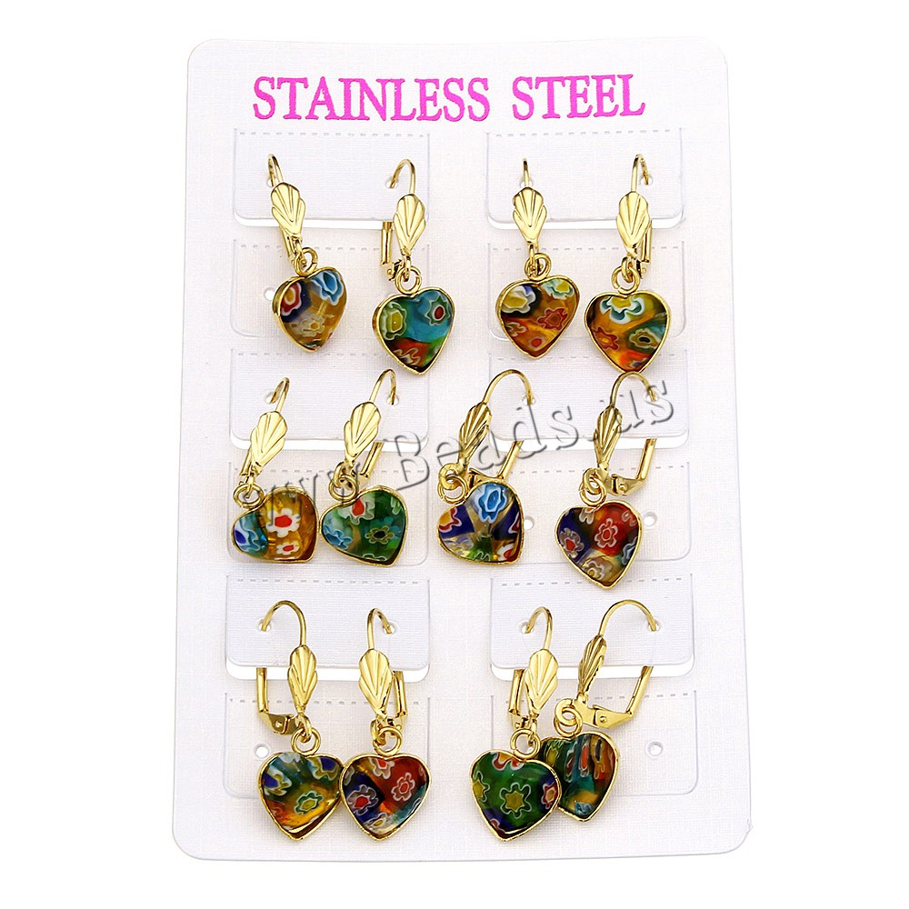 Buy Stainless Steel Lever Back Earring Murano Millefiori Lampwork Heart gold color plated 12x14.5x4mm 32.5mm 6Pairs/Lot Sold Lot