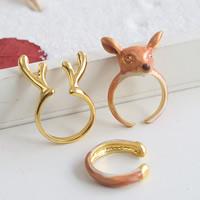Zinklegierung Ring Set, Weihnachtselch, goldfarben plattiert, Weihnachtsschmuck & Emaille, frei von Blei & Kadmium, 18mm, Größe:7.5, 3PCs/setzen, verkauft von setzen