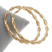Eisen Kreolen, Kreisring, goldfarben plattiert, frei von Blei & Kadmium, 60x61x4mm, verkauft von Paar