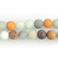 Amazonit Perlen, rund, natürlich, verschiedene Größen vorhanden & satiniert, Bohrung:ca. 1-1.5mm, verkauft per ca. 15.5 ZollInch Strang