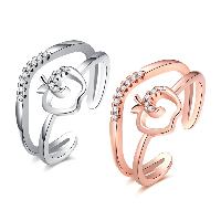 comeon® Finger-Ring, Messing, Apfel, plattiert, offen & für Frau & mit kubischem Zirkonia, keine, frei von Nickel, Blei & Kadmium, 12mm, Größe:8, verkauft von PC