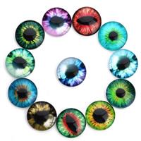 Glas Cabochons, flache Runde, mit Augen-Muster & Zeit Edelstein Schmuck & gemischtes Muster & verschiedene Größen vorhanden & flache Rückseite & Aufkleber, 20PCs/Tasche, verkauft von Tasche