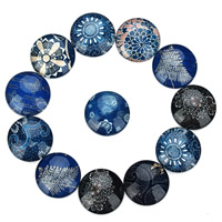 Glas Cabochon, flache Runde, blauen und weißen Porzellan & Zeit Edelstein Schmuck & gemischtes Muster & verschiedene Größen vorhanden & flache Rückseite & Aufkleber, 20PCs/Tasche, verkauft von Tasche