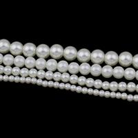Perlmuttartige Glasperlen, rund, verschiedene Größen vorhanden, beige, Bohrung:ca. 1mm, Länge:ca. 31.5 ZollInch, verkauft von Tasche