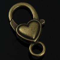 Zinklegierung Karabinerverschluss, Herz, antike Bronzefarbe plattiert, frei von Nickel, Blei & Kadmium, 22x15mm, Bohrung:ca. 2mm, 10PCs/Tasche, verkauft von Tasche