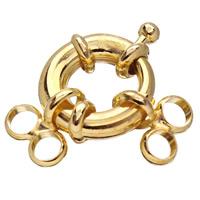 Zink-Legierung Spring Ring Verschluss, Zinklegierung, goldfarben plattiert, 2 strängig, frei von Blei & Kadmium, 15mm, Bohrung:ca. 3mm, 10PCs/Tasche, verkauft von Tasche