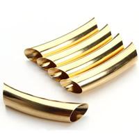 Messing Rohr Perlen, goldfarben plattiert, frei von Nickel, Blei & Kadmium, 9x45mm, Bohrung:ca. 3mm, 20PCs/Tasche, verkauft von Tasche