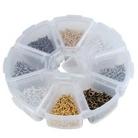 Eisen Ringöse, mit Kunststoff Kasten, Blume, plattiert, transparent & 8 Zellen, gemischte Farben, frei von Blei & Kadmium, 4x10mm, Bohrung:ca. 1.5mm, ca. 800PCs/Box, verkauft von Box