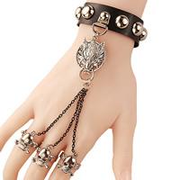 PU Leder Ringarmband, mit Zinklegierung, plattiert, einstellbar & für Frau, frei von Nickel, Blei & Kadmium, 19mm, Größe:6, verkauft per ca. 8.6 ZollInch Strang