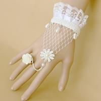 Braut Armband- Ring, Spitze, mit Glasperlen & Harz & Zinklegierung, mit Verlängerungskettchen von 2.7lnch, plattiert, für Braut & einstellbar, frei von Nickel, Blei & Kadmium, Größe:6, verkauft per ca. 5.1 ZollInch Strang