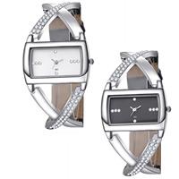 Armreif-Uhr, Zinklegierung, mit PU Leder & Glas, Platinfarbe platiniert, einstellbar & für Frau & mit Strass, keine, frei von Nickel, Blei & Kadmium, 32x22mm, Länge:ca. 8.5 ZollInch, verkauft von PC