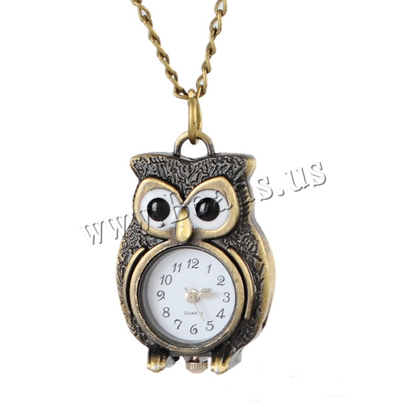 Buy Fashion Watch Necklace Zinc Alloy Glass Owl antique bronze color plated twist oval chain & woman nickel lead & cadmium free Sold Per Approx 31.5 Inch Strand