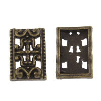 Zinklegierung Zwischenstege, Rechteck, antike Bronzefarbe plattiert, 3-Strang, frei von Blei & Kadmium, 12x17x5mm, Bohrung:ca. 1mm, 100G/Tasche, verkauft von Tasche
