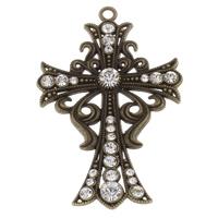 Zinklegierung Kreuz Anhänger, Schwertlilien Kreuz, antike Bronzefarbe plattiert, mit Strass, frei von Blei & Kadmium, 58x89x7mm, Bohrung:ca. 4mm, verkauft von PC