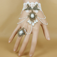Gothic -Armband-Ring, Spitze, mit Glasperlen & Zinklegierung, mit Verlängerungskettchen von 2.7lnch, plattiert, einstellbar & für Frau, frei von Nickel, Blei & Kadmium, Größe:6, verkauft per ca. 5.1 ZollInch Strang