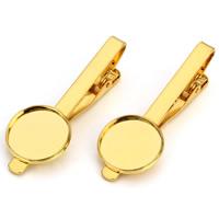 Messing Krawattenklammer Zubehör, goldfarben plattiert, olika innerdiameter, för val, frei von Nickel, Blei & Kadmium, 35mm, 10PCs/Tasche, verkauft von Tasche
