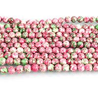 Regen Blumen Stein Perlen, rund, 8mm, Bohrung:ca. 1mm, Länge:ca. 15 ZollInch, 10SträngeStrang/Menge, ca. 46PCs/Strang, verkauft von Menge