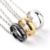 Unisex Halskette, Zinklegierung, Kreisring, plattiert, Rolo Kette & mit Brief Muster, keine, frei von Blei & Kadmium, 22x22mm, verkauft per ca. 17.5 ZollInch Strang
