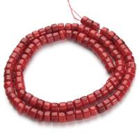 Natürliche Korallen Perlen, Rondell, rot, 4x5mm, Bohrung:ca. 1mm, ca. 100PCs/Strang, verkauft per ca. 15.5 ZollInch Strang