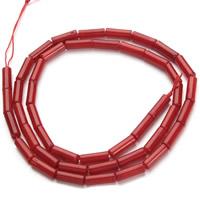 Natürliche Korallen Perlen, Zylinder, rot, 3x9mm, Bohrung:ca. 1mm, ca. 45PCs/Strang, verkauft per ca. 15.5 ZollInch Strang