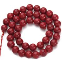 Natürliche Korallen Perlen, rund, verschiedene Größen vorhanden, rot, Bohrung:ca. 1mm, verkauft per ca. 15.5 ZollInch Strang