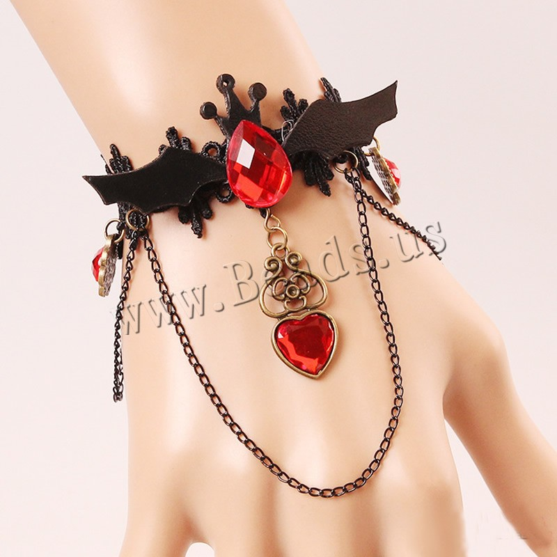Gothic Armband, Spitze, mit PU Leder & Kristall & Zinklegierung, mit Verlängerungskettchen von 2.7lnch, plattiert, für Frau & facettierte, frei von Nickel, Blei & Kadmium, verkauft per ca. 5.5 ZollInch Strang