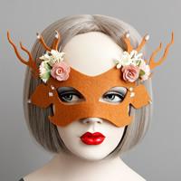 Fashion Party Maske, Filz, mit Seidenspinnerei & Satinband & Harz, Weihnachtsschmuck & facettierte, rote Orange, 52mm, verkauft von PC