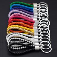 Zinklegierung Schlüssel Verschluss, mit Eisen Ring & PU Leder, Platinfarbe platiniert, gemischte Farben, frei von Blei & Kadmium, 130x40x11mm, Bohrung:ca. 25mm, verkauft von PC