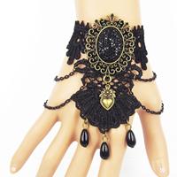 Gothic Armband, Spitze, mit Glas & Harz Strass & Zinklegierung, mit Verlängerungskettchen von 2.7lnch, plattiert, für Frau, frei von Nickel, Blei & Kadmium, verkauft per ca. 6 ZollInch Strang