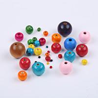 Holzperlen, Holz, rund, verschiedene Größen vorhanden, gemischte Farben, Bohrung:ca. 1-2mm, verkauft von Tasche