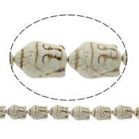 Buddhistische Perlen, Synthetische Türkis, Buddha, buddhistischer Schmuck, weiß, 21x29x13mm, Bohrung:ca. 1mm, Länge:ca. 15.5 ZollInch, 10SträngeStrang/Tasche, ca. 14PCs/Strang, verkauft von Tasche