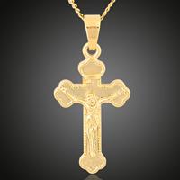 Messing Kreuz Anhänger, Jesus Kreuz, 18 K vergoldet, Christ/ Christin Schmuck, frei von Blei & Kadmium, 17x36mm, Bohrung:ca. 3-5mm, 6PCs/Tasche, verkauft von Tasche