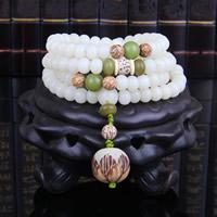 108 Mala Perlen, Weiß Chalcedon, mit Bodhi Wurzel, synthetisch, buddhistischer Schmuck & für Frau & 4-Strang, 6x8mm, 108PCs/Strang, verkauft per ca. 27.5 ZollInch Strang