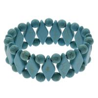Synthetische Türkis Armband, Rhombus, blau, 11x25x6mm, Länge:ca. 7.5 ZollInch, 10SträngeStrang/Tasche, verkauft von Tasche