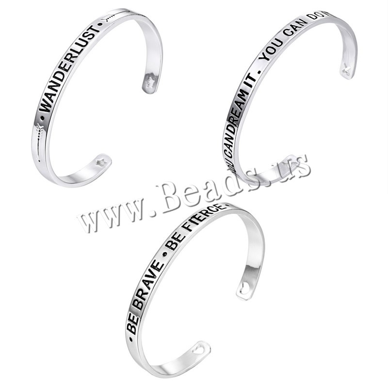 Buy Zinc Alloy Cuff Bangle platinum color plated different designs choice & letter pattern & woman & enamel nickel lead & cadmium free Inner Diameter:Approx 57mm Length:Approx 7.08 Inch Sold Lot