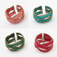 Memory Wire Armband, Glas-Rocailles, mit Stahldraht, für Frau & Volltonfarbe, keine, 40x70mm, Länge:ca. 7 ZollInch, 3SträngeStrang/Tasche, verkauft von Tasche