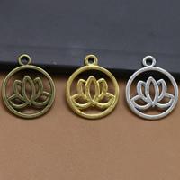 Zinklegierung Blume Anhänger, Lotus, plattiert, keine, frei von Blei & Kadmium, 24x20mm, Bohrung:ca. 1.5mm, 100PCs/Tasche, verkauft von Tasche