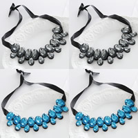 Kragen Halskette, Kristall, mit Satinband, facettierte, mehrere Farben vorhanden, 40cm, verkauft per ca. 15.5 ZollInch Strang