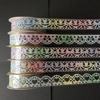 Dekorative Band, Kunststoff, gemischtes Muster & buntes Pulver, 15mm, 10PCs/Tasche, 1m/PC, verkauft von Tasche