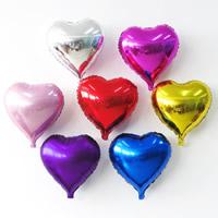 Alufolie Luftballon, Herz, gemischte Farben, 45cm, 10PCs/Tasche, verkauft von Tasche