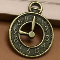 Zinklegierung Uhr Anhänger, Wecker, antike Bronzefarbe plattiert, frei von Blei & Kadmium, 26x20mm, Bohrung:ca. 1.5mm, 100PCs/Tasche, verkauft von Tasche