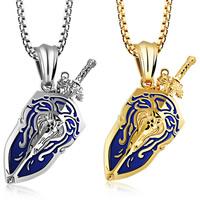 Herren-Strickjacke-Ketten-Halskette, 316 L Edelstahl, SchwertKlinge, plattiert, Kastenkette & für den Menschen & Emaille, keine, 23x43mm, verkauft per ca. 21.6 ZollInch Strang