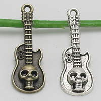 Musikinstrument Zinklegierung Anhänger, Gitarre, plattiert, mit Totenkopf-Muster, keine, frei von Blei & Kadmium, 32x11mm, Bohrung:ca. 1.5mm, 100PCs/Tasche, verkauft von Tasche