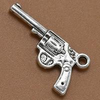 Zinklegierung Pistole Anhänger, antik silberfarben plattiert, frei von Blei & Kadmium, 25x12mm, Bohrung:ca. 1.5mm, 100PCs/Tasche, verkauft von Tasche