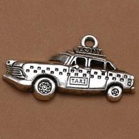 Fahrzeug Zinklegierung Anhänger, Auto, antik silberfarben plattiert, mit Brief Muster, frei von Blei & Kadmium, 32x20mm, Bohrung:ca. 1.5mm, 100PCs/Tasche, verkauft von Tasche
