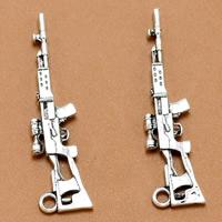 Zinklegierung Pistole Anhänger, antik silberfarben plattiert, frei von Blei & Kadmium, 44x11mm, Bohrung:ca. 1.5mm, 100PCs/Tasche, verkauft von Tasche