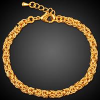 Messing Armband, mit Verlängerungskettchen von 4cm, 18 K vergoldet, kompulizierte Kette & für Frau, frei von Blei & Kadmium, 4.5mm, verkauft per ca. 8 ZollInch Strang
