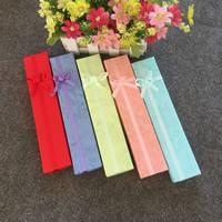 Papier Halskettenkasten, Rechteck, mit Dekoration von Bandschleife, gemischte Farben, 210x40x30mm, 100PCs/Menge, verkauft von Menge